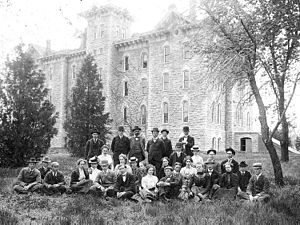 Washburn University - Class of 1900 in front of Rice Hall