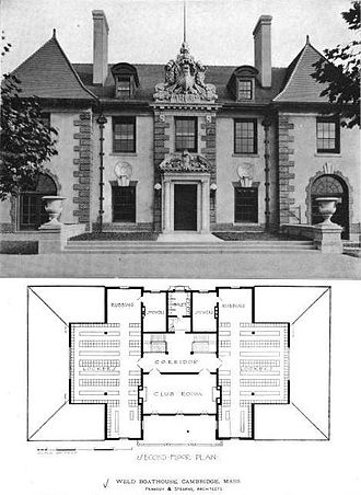 """Weld Boathouse - Front view with second floor (showing locker rooms and adjacent """"rubbing"""" rooms)"""