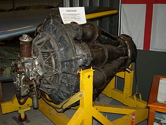 Rolls-Royce Derwent - A Rover W.2B/26 on display at the Midland Air Museum This design was later to become the Derwent