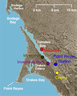 Towns of rural western Marin County. Inverness Park is in violet.