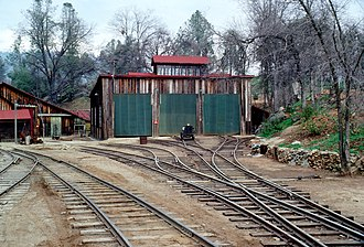 West Side Lumber Company railway - The engine shed in 1979.
