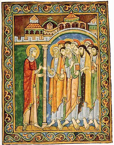 Святая Мария Магдалина рассказывает святым Апостолам об явлении ей Иисуса Христа и Его Воскресении, 1120-е гг. Редкая иконография изображения святой.