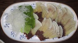 A dish of whale meat in Japan