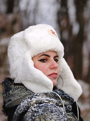 Ushanka - Woman using a Belarus parade ushanka as fashion wear, 2011