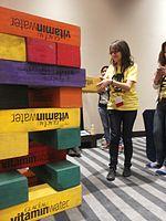 Wikimania 2015-Wednesday-Volunteers play Weasel-Jenga (5).jpg