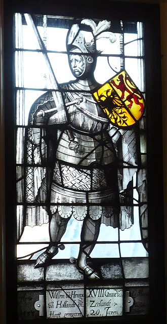 "William II of Holland - William II of Holland as ""Willem van Henegouwen"" in stained-glass window from 1588 by Willem Thibaut, located in the Museum De Lakenhal"