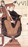 William the Conqueror depicted at the Battle of Hastings, on the Bayeux Tapestry