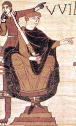 Bayeux duvar kiliminde William Normandiya Dükü olarak gösterilmektedir.