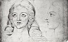 On the left, a line drawing of the head of a woman facing forward, eyes looking up and to the left; on the right, a line drawing of the same woman in profile, looking left towards the first head