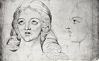 Corinna - Two sketches of Corinna by William Blake, from his series Visionary Heads.