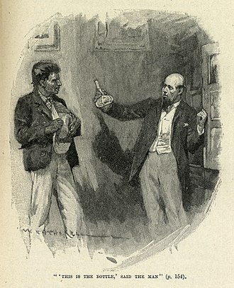 The Bottle Imp - William Hatherell's illustration of a 1905 edition of the story: the bottle is presented to Keawe by its previous owner