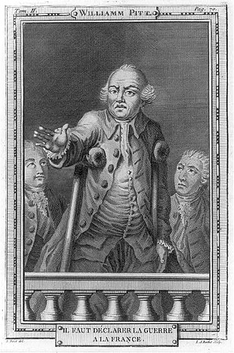 """We must declare war on France"". This curious representation of William Pitt making a speech to Parliament wants to show his absolute opposition to France on colonial problems. William Pitt discourt au parlement guerre contre la France.jpg"