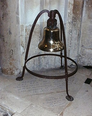 Frederic Charles Dreyer - The ship's bell of HMS Iron Duke, which was presented to Winchester Cathedral by Dreyer. The bell stands above a slab commemorating Dreyer and his wife.