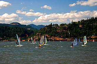 Hood River, Oregon - Windsurfers on the Columbia River
