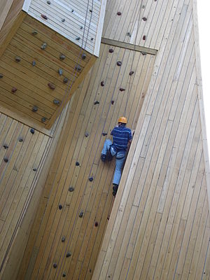 Wood climbing wall at a camp in Wisconsin,USA
