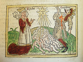 Niobe - Woodcut illustration of Niobe, Amphion and their dead sons, ca. 1474 – Penn Provenance Project