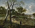 Wooded Evening Landscape with a Hunter and His Dogs by Adriaen van de Velde.jpg