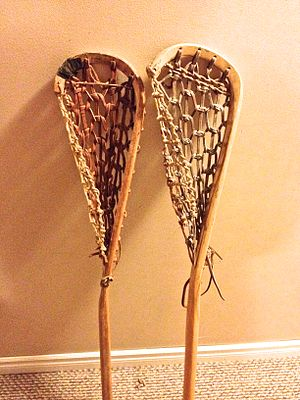 Lacrosse stick - A pair of wood lacrosse sticks.