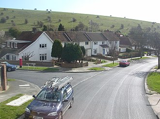 Woodingdean - The junction of Ravenswood Drive and Cowley Drive, showing the proximity of the open countryside of the South Downs.