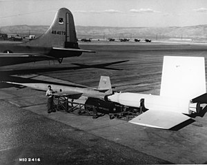 Lockheed X-7 - Lockheed X-7 being prepared for loading and test flight.  (B-50 seen in background)