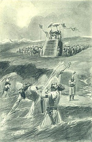 "Xerxes' Pontoon Bridges - An artist's illustration depicting Xerxes' alleged ""punishment"" of the Hellespont"