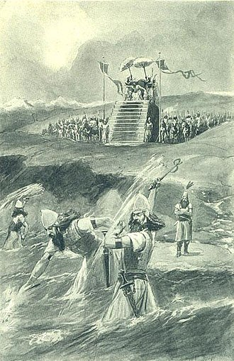 "Xerxes I - Xerxes attending the lashing and ""chaining"" of the Hellespont (Illustration from 1909)"