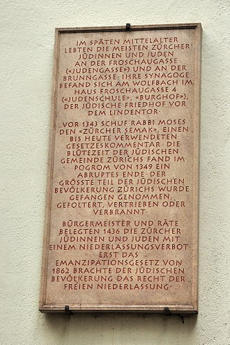 History of the Jews in Switzerland - Synagogengasse, Neumarkt in Zürich