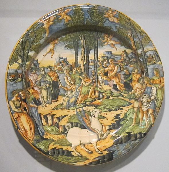 File:'Apollo and Muses on Mount Parnassus', tin-glazed earthenware plate, Cincinnati.JPG
