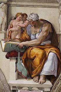 'Cumaean Sibyl Sistine Chapel ceiling' by Michelangelo JBU35.jpg