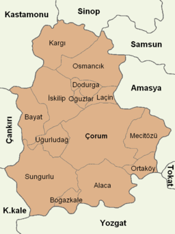 Çorum location districts.png