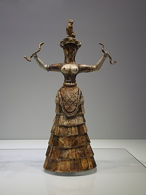 History of corsets - Figurine of Minoan snake goddess (or priestess), wearing a corset-like garment, from the palace of Knossos, Crete: c.1600 BC