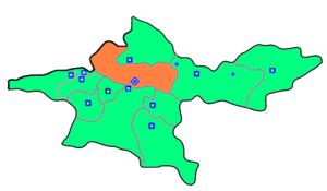 Kort der viser beliggenheden af Teheran Amt og byen Teheran i provinsen Teheran