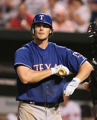 Jarrod Saltalamacchia - Saltalamacchia during his tenure with the Texas Rangers in 2009