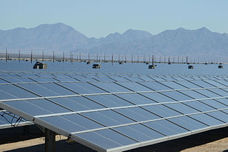 100% renewable energy - The 550 MW Desert Sunlight Solar Farm in California.