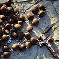 02014 Der Gebetskette-Rosenkranz aus Pimpernuß. Die beskidische Samenkörner mit Silberdraht gefaßt..JPG