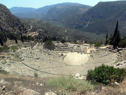 The ruins of the Temple of Apollo, Delphi