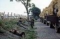 115 Pause sur le bord d'une route de la Côte d'or (Aubigny, Pain Blanc) en attendant un retardataire. Chauffeurs du 511e et Sapeurs du 9e Génie, 5e Compagnie. (4060886831).jpg