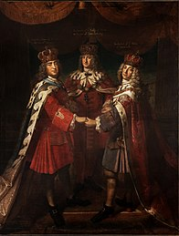 Epiphany: Friedrich I in Prussia (center), August II (the strong), Elector of Saxony and temporarily King of Poland (left), Friedrich IV of Denmark (right), painting by Samuel Theodor Gericke