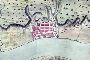 Fort Frederick (Albany) - Map of Albany in 1758. North to right. This same map appears on a commemorative marker on State Street.