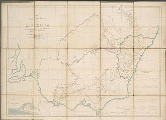 Thomas Mitchell (explorer) - 1838 map of Victoria and New South Wales showing towns, major rivers and the limits of the Colony at the time. The map shows in red the routes taken by Mitchell's expedition and camps.