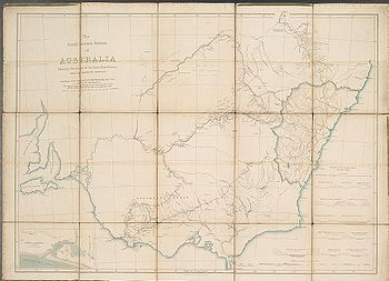 1838 map of Victoria and New South Wales showing towns, major rivers and the limits of the Colony at the time. The map shows in red the routes taken by Mitchell's expedition and camps.