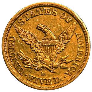 Dahlonega Mint - Reverse of an 1843 half eagle struck at the Dahlonega Mint