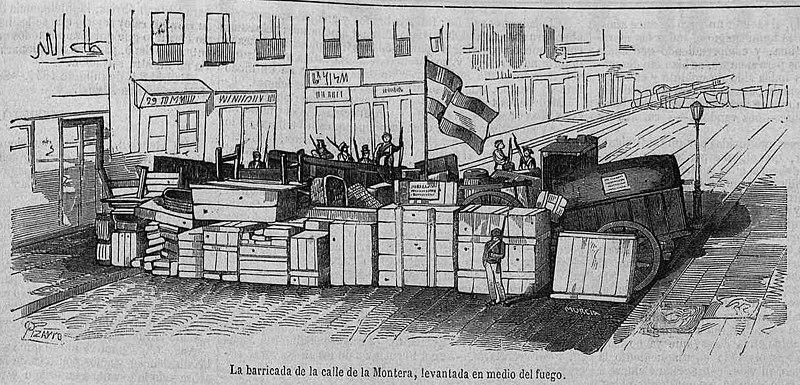 Archivo:1854-08-21, La Ilustración, La barricada de la calle de la Montera, levantada en medio del fuego.jpg