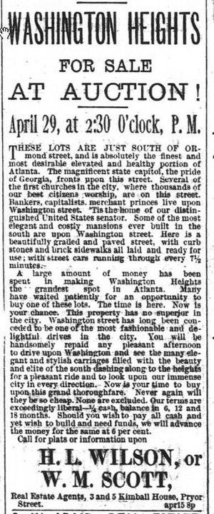 Washington–Rawson - 1890 newspaper ads describing the mansions of Washington Street