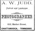1890 A W Judd photographer advert Chattanooga Tennessee.png
