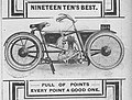 1910 new pattern james motorcycle with hub centre steering in 1910 British The Motorcycle magazine.jpg
