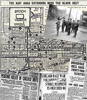 Chicago race riot of 1919 August 1919 racial tensions in Chicago, Illinois, USA