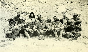 1922 British Mount Everest expedition - Expedition at Base Camp. Back row: Morshead, G Bruce, Noel, Wakefield, Somervell, Morris, Norton Front row: Mallory, Finch, Longstaff, General C  Bruce, Strutt, Crawford
