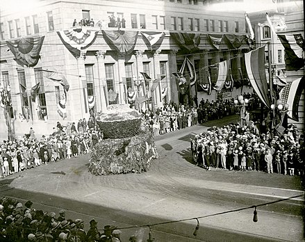 The 1928 San Jose annual Fiesta de las Rosas parade in Downtown 1928 Fiesta de las Rosas of San Jose.jpg