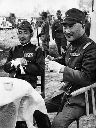 Shunroku Hata - Hata (left) with Field Marshal Count Terauchi Hisaichi in Xuzhou